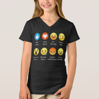 I Love DANCE Social Emoticon (emoji) - White Font T-Shirt