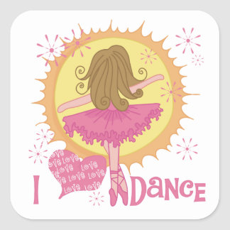 I Love Dance Square Sticker