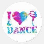 I Love Dance Tie Dye Classic Round Sticker