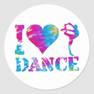I Love Dance Tie Dye Classic Round Sticker