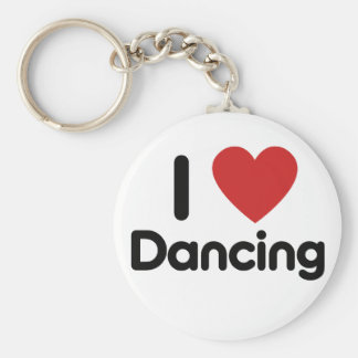 I Love Dancing Basic Round Button Keychain