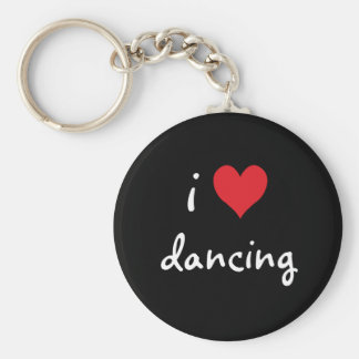 I Love Dancing Basic Round Button Keychain