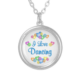 I Love Dancing Round Pendant Necklace