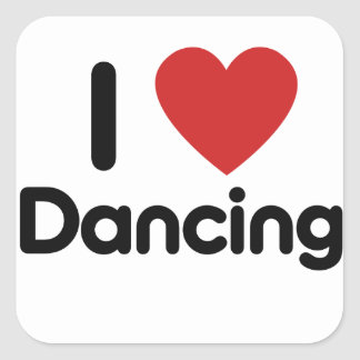 I Love Dancing Square Sticker