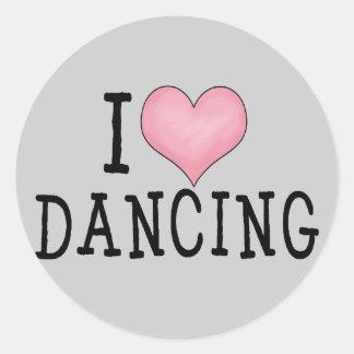 I Love Dancing Round Sticker