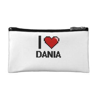 I Love Dania Digital Retro Design Cosmetic Bag