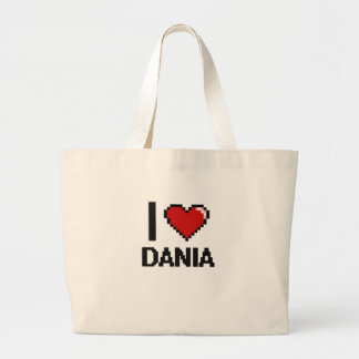 I Love Dania Digital Retro Design Jumbo Tote Bag