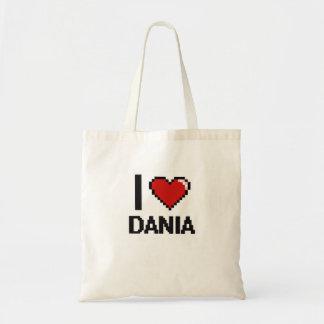 I Love Dania Digital Retro Design Budget Tote Bag