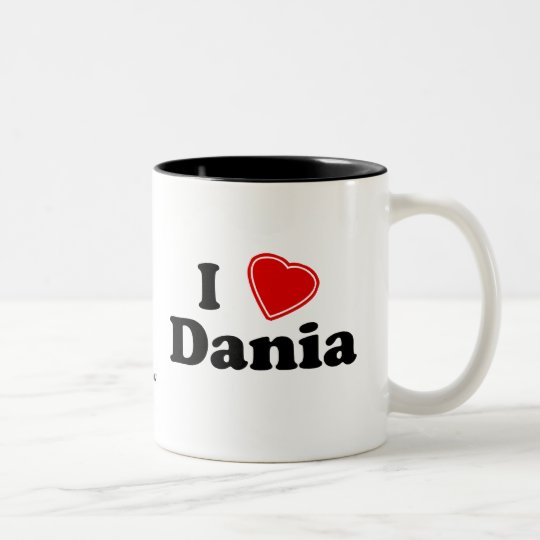 I Love Dania Two-Tone Coffee Mug