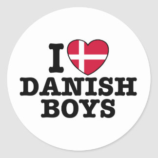I Love Danish Boys Classic Round Sticker