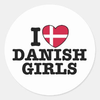 I Love Danish Girls Classic Round Sticker