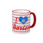 I Love Darien, Connecticut Ringer Coffee Mug