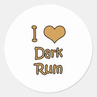 I Love Dark Rum Classic Round Sticker