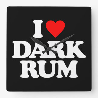 I LOVE DARK RUM SQUARE WALLCLOCK