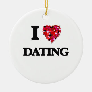 I love Dating Double-Sided Ceramic Round Christmas Ornament