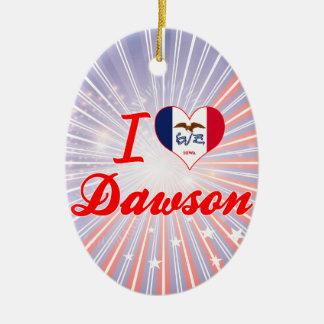 I Love Dawson, Iowa Double-Sided Oval Ceramic Christmas Ornament