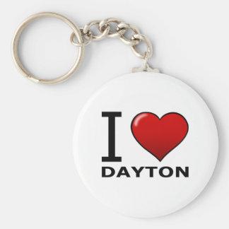 I LOVE DAYTON, OH - OHIO BASIC ROUND BUTTON KEYCHAIN