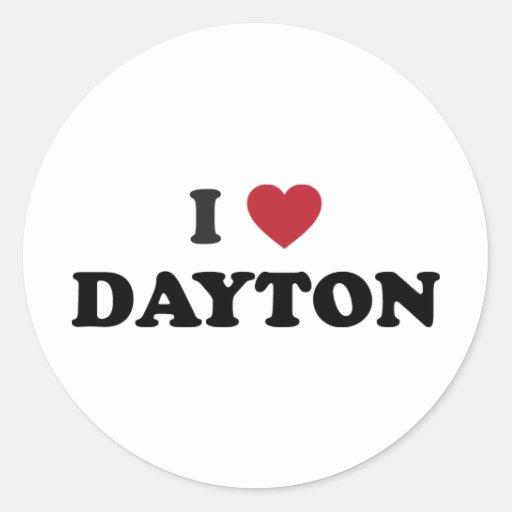 I Love Dayton Ohio Round Sticker