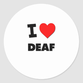 I Love Deaf Round Stickers