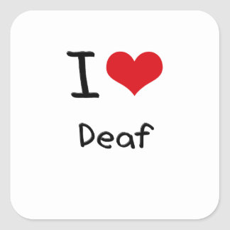 I Love Deaf Square Stickers