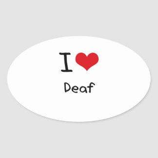 I Love Deaf Oval Stickers