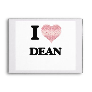 I Love Dean (Heart Made from Love words) Envelopes