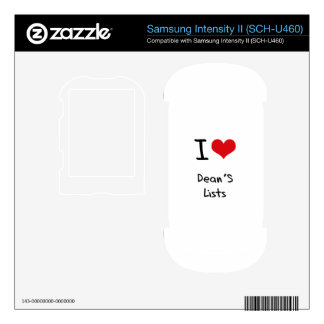 I Love Dean's Lists Samsung Intensity Decals