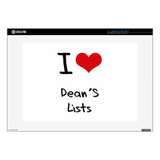 "I Love Dean's Lists Skin For 15"" Laptop"