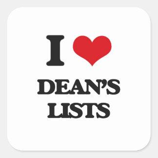 I love Dean's Lists Square Sticker