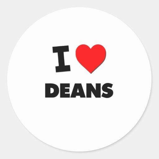 I Love Deans Round Sticker