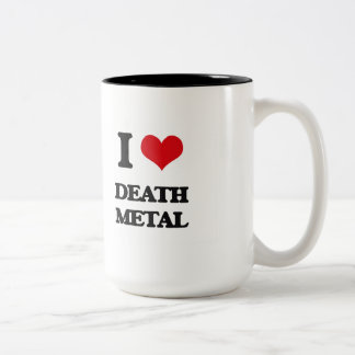 I Love DEATH METAL Two-Tone Coffee Mug