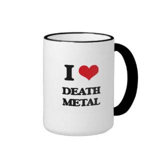 I Love DEATH METAL Ringer Coffee Mug