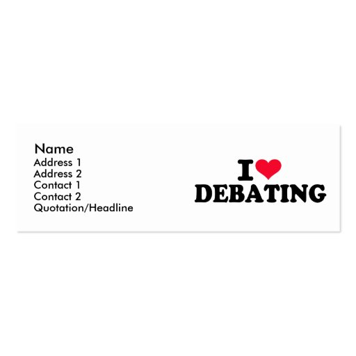 I love debating Double-Sided mini business cards (Pack of 20)