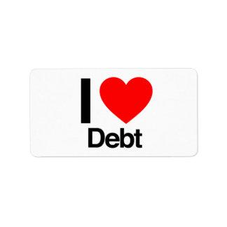 i love debt address label