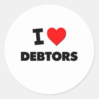 I Love Debtors Classic Round Sticker