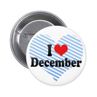 I Love December 2 Inch Round Button