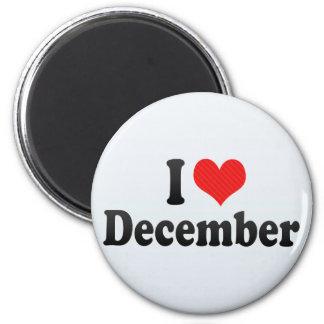 I Love December 2 Inch Round Magnet