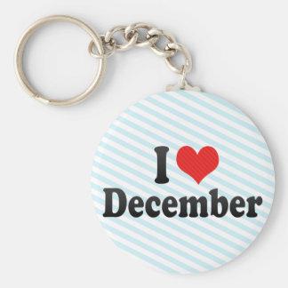 I Love December Basic Round Button Keychain