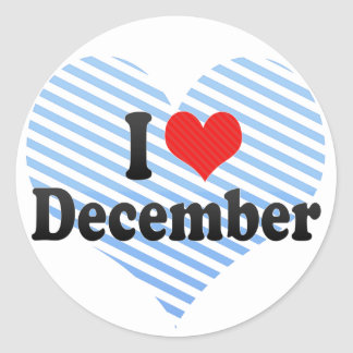 I Love December Classic Round Sticker