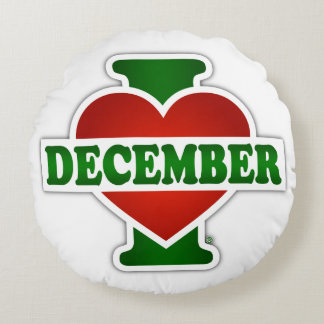 I Love December Round Pillow