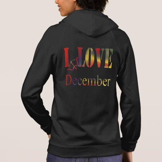 I Love December- Women's  Fleece Sleeve Hoodie