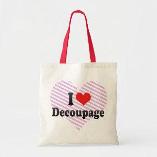 I Love Decoupage Budget Tote Bag