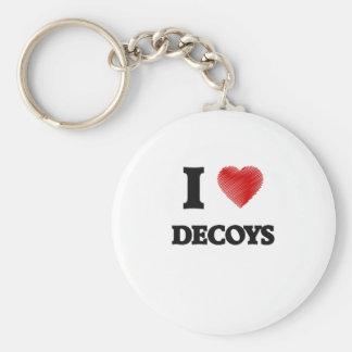 I love Decoys Basic Round Button Keychain