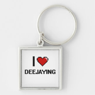 I Love Deejaying Digital Retro Design Silver-Colored Square Keychain