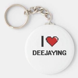I Love Deejaying Digital Retro Design Basic Round Button Keychain