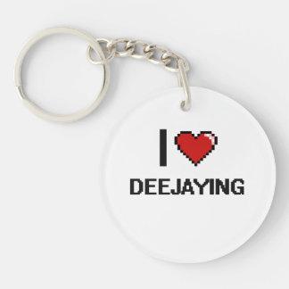 I Love Deejaying Digital Retro Design Single-Sided Round Acrylic Keychain