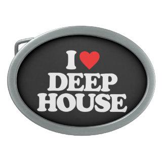 I LOVE DEEP HOUSE OVAL BELT BUCKLE