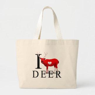 I Love Deer Tote Bags