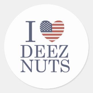 I Love Deez Nuts Classic Round Sticker
