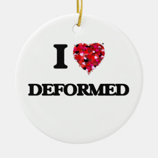 I love Deformed Double-Sided Ceramic Round Christmas Ornament